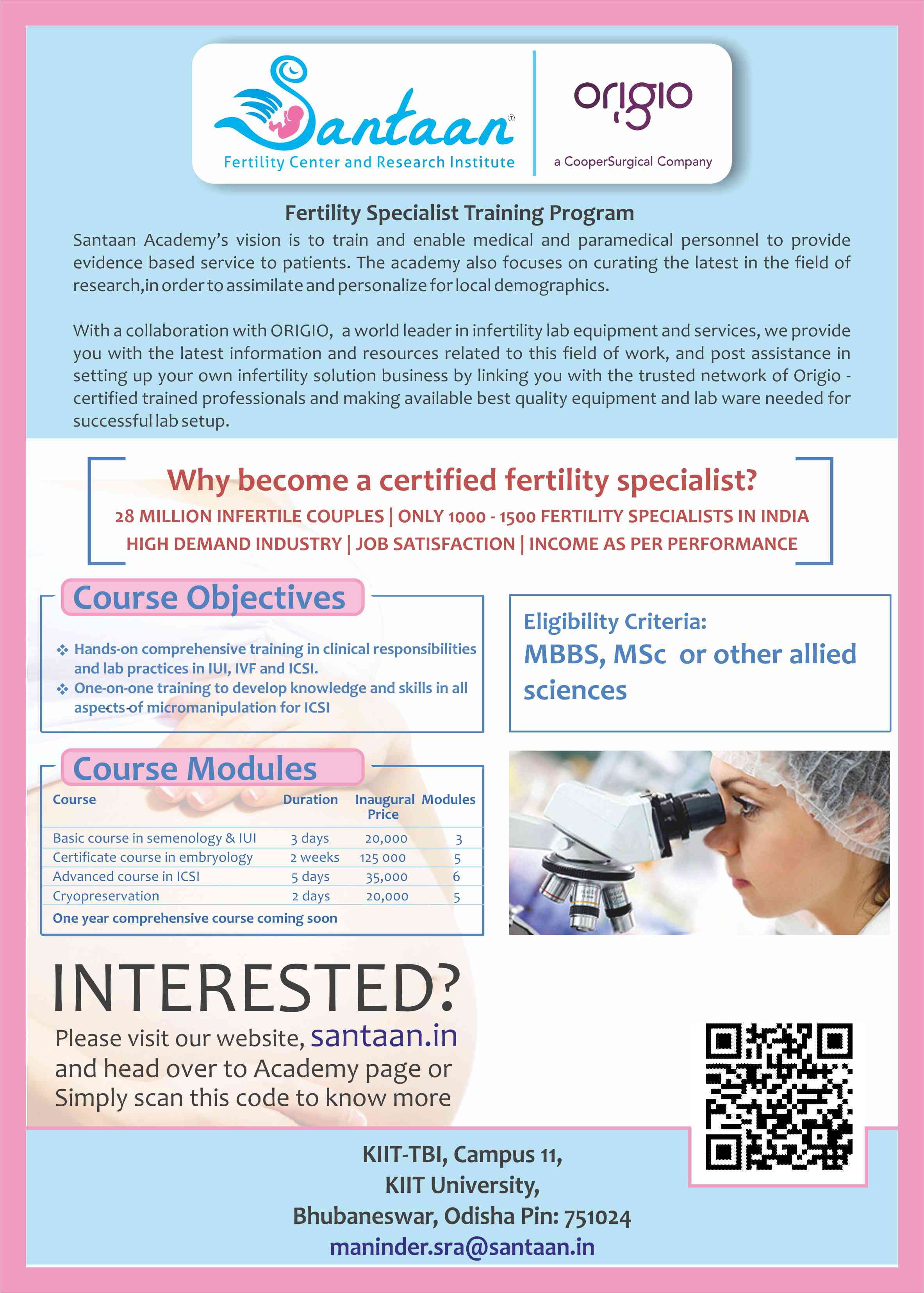 Santaan soon to begin Training Academy in fertility!! - Santaan